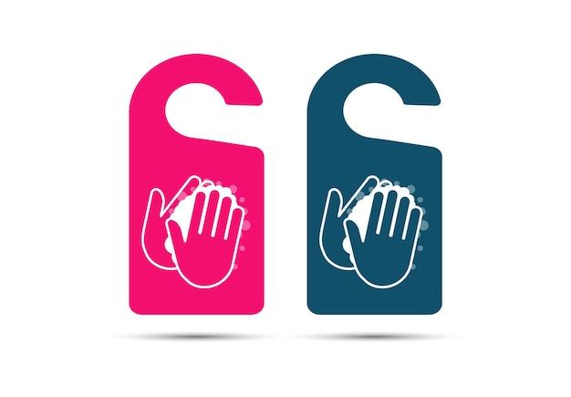 As etiquetas são lavadas à mão. lavar as mãos com sabonete. desinfecção. estilo simples.