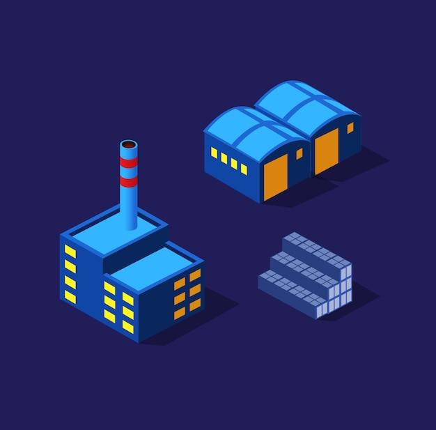 As fábricas, armazéns, noite da indústria, néon, ilustração