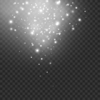 As faíscas de poeira e estrelas douradas brilham com uma luz especial. efeito de luz.