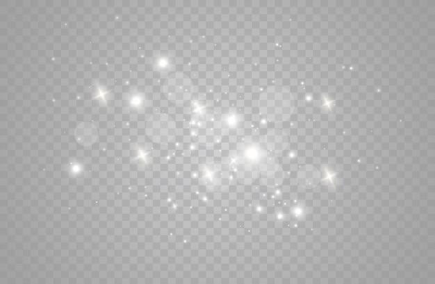 As faíscas de poeira e estrelas douradas brilham com uma luz especial.