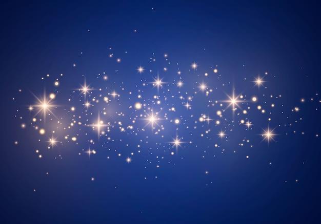 As faíscas e partículas de poeira brilham com luz especial. partículas de poeira mágica cintilantes.
