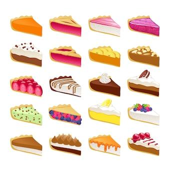 As fatias doces coloridas das tortas ajustaram a ilustração.