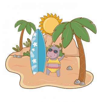 As férias de verão relaxam desenhos animados