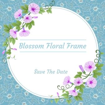 As flores da flor no círculo moldam o cartão do convite.