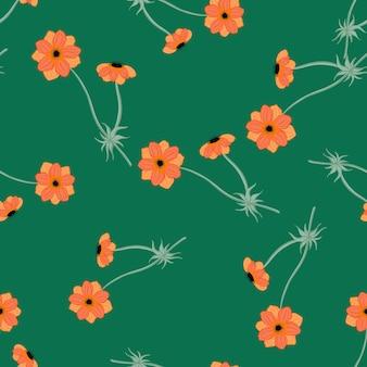 As flores de anêmona laranja aleatórias moldam o padrão de doodle sem emenda. fundo verde brilhante. impressão criativa. ilustração das ações. desenho vetorial para têxteis, tecidos, papel de embrulho, papéis de parede.