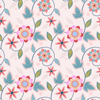 As flores do ornamento projetam o fundo sem emenda do papel de parede de matéria têxtil da tela do teste padrão