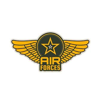As forças aéreas remendam o ícone do vetor de asas, escudo e estrela. asas de aeronaves militares isolaram o emblema heráldico do exército ou divisão de aviação da marinha, esquadrão, vôo ou grupo, heráldica do serviço armado