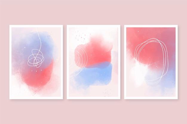 As formas abstratas em aquarela cobrem a coleção