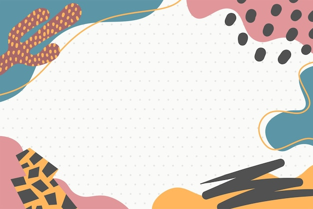 As formas abstratas modernas coloridas de memphis pop art com fundo de bolinhas vetoriais