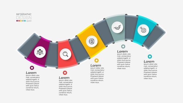 As formas de onda das informações são usadas para descrever em detalhes e apresentar um infográfico de vetor de eventos educacionais ou comerciais