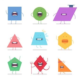 As formas geométricas engraçadas vector o jogo de caracteres dos desenhos animados isolado no fundo branco.