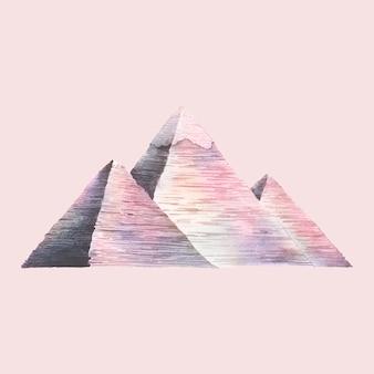 As grandes pirâmides de gizé pintadas por aquarela