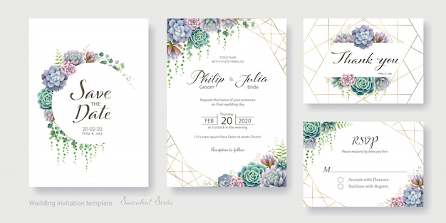 As hortaliças, cartão suculento do convite do casamento, salvar a data, obrigado, molde do rsvp.