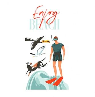 As ilustrações de horário de verão dos desenhos animados abstratos desenhados à mão assinam com mergulho menino, cachorro, pássaro tucano e tipografia enjoy beach citação sobre fundo branco