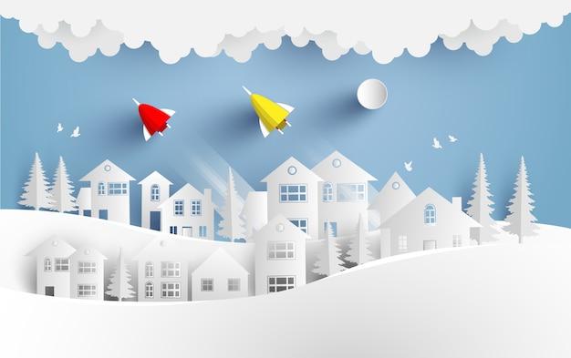 As ilustrações do foguete voam em toda a casa no inverno. arte de design e artesanato