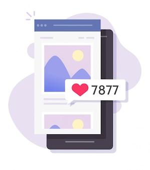 As imagens fotográficas representam o compartilhamento de rede social on-line com comentários de gostos que listam o aplicativo para celular