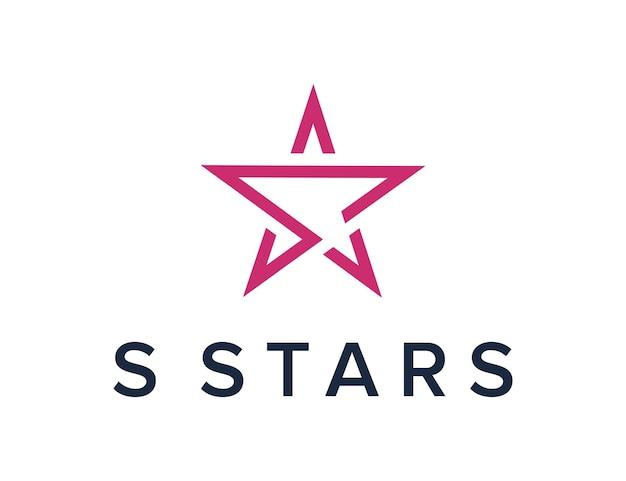 As iniciais da letra s com estrelas delineiam o design de logotipo moderno e geométrico simples e criativo