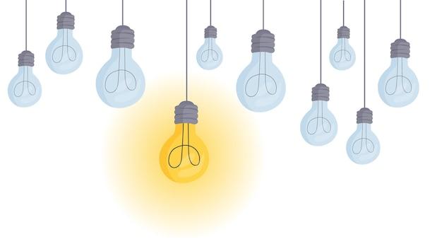 As lâmpadas penduradas no teto