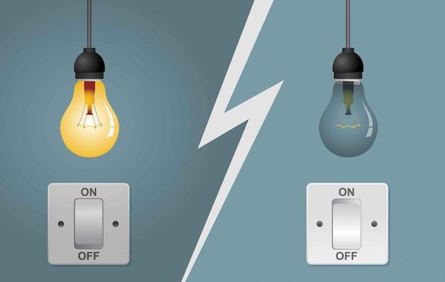 As lâmpadas planas acenderam e apagaram com os interruptores de luz acesos.
