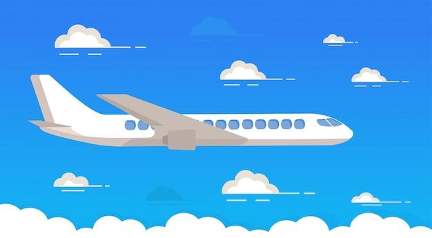 As linhas aéreas do passageiro nublam-se o avião do céu azul. avião a jato.