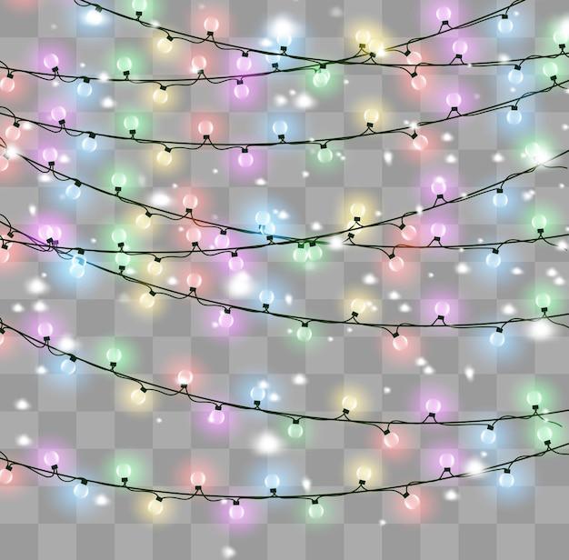 As luzes de natal isolaram elementos de design realista.