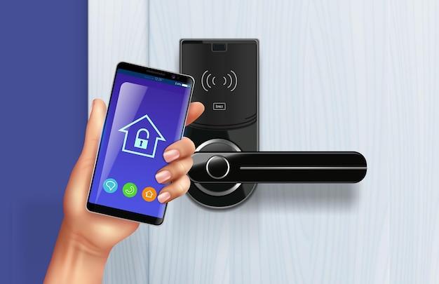 As maçanetas das portas controlam a composição realista com a mão humana segurando o aplicativo de desbloqueio do smartphone na frente da porta