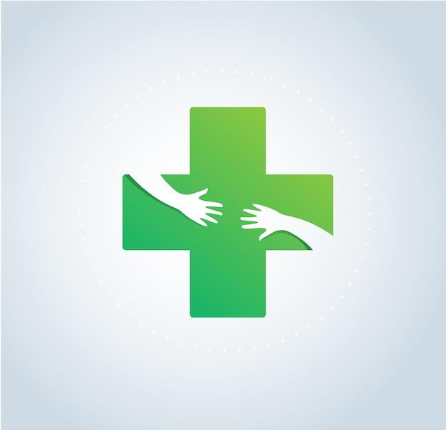 As mãos abraçam o vetor de símbolo de logotipo médica