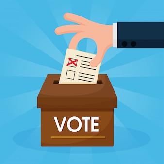 As mãos cartoon que estão votando são colocadas na caixa marrom