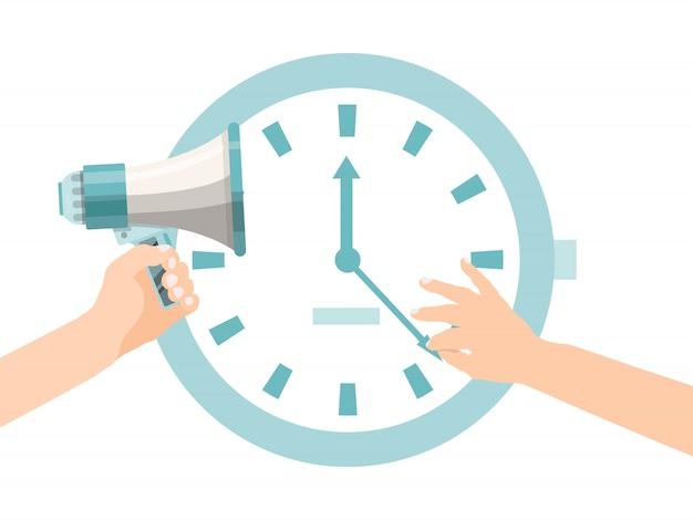 As mãos da pessoa tentam parar a seta do relógio. prazo com grande relógio e megafone. problema de atraso no prazo