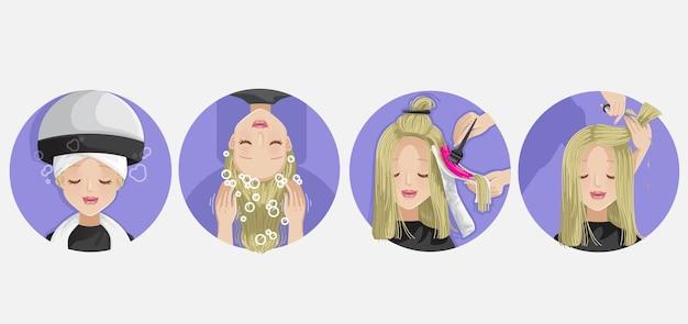 As mãos das cabeleireiras estão servindo o trabalho atividades no salão de cabeleireiro lavando o cabelo cortando o cabelo