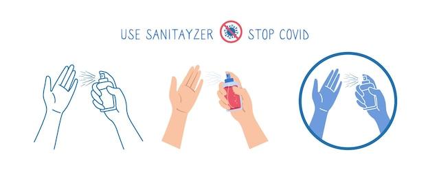 As mãos do símbolo seguram um conjunto de spray antibacteriano e antiviral, linha de desenho animado e estilo de glifo. ícone para parar coronavírus