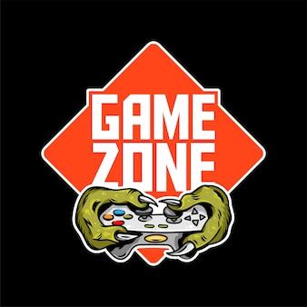 As mãos dos jogadores da zona de jogo do dinossauro monstro verde que mantêm o controlador de joystick do gamepad e jogam videogame.