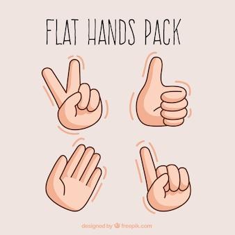 As mãos espalmadas ilustração