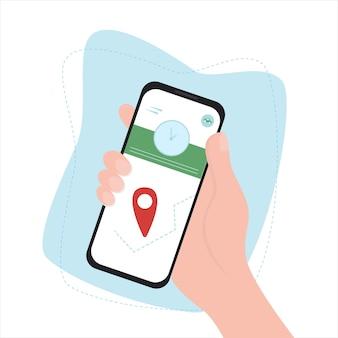 As mãos estão segurando um telefone celular com o aplicativo de entrega na tela. estilo simples