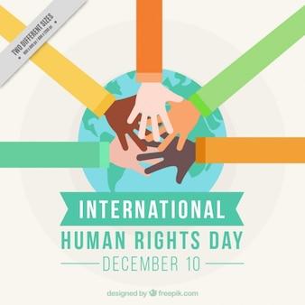 As mãos juntas para o dia internacional dos direitos humanos