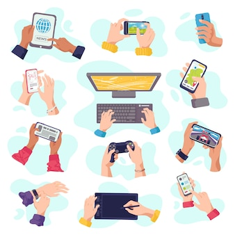As mãos prendem gadgets, telefones celulares, eletrônicos de dispositivos digitais, um conjunto de ilustrações. dispositivos de computador na mão, homem, laptop, tablet, smartphone ou teclado. mãos de gadget.