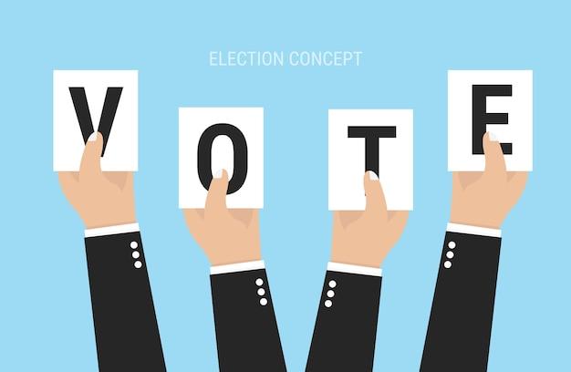 As mãos que prendem folhas de papel com as letras votam.