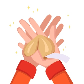 As mãos seguram biscoitos da sorte chineses. doces com moldes brancos, pedaços de papel para dar sorte. doces para o ano novo, presente ou feriado. ilustração vetorial