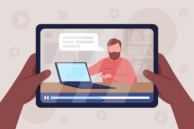 As mãos seguram o tablet com o computador desempacotando a ilustração a cores do vídeo