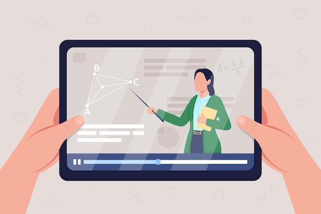 As mãos seguram o tablet com vídeo sobre ilustração em cor plana da aula de geometria