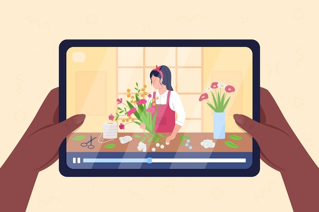 As mãos seguram o tablet com vídeo sobre ilustração em cor plana do arranjo de flores