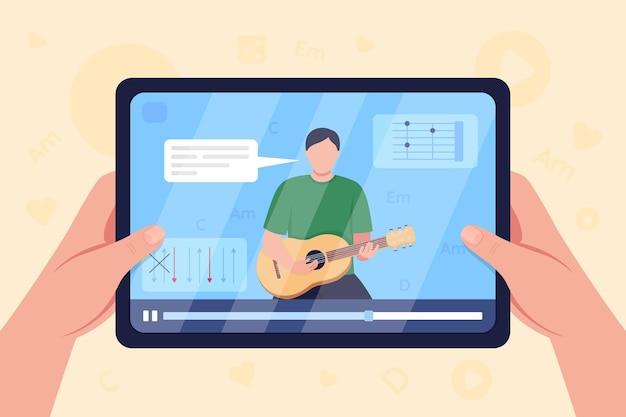 As mãos seguram o tablet com vídeo sobre ilustração em cores planas do tutorial de guitarra