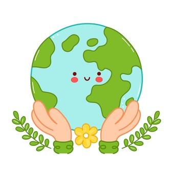 As mãos seguram personagem bonito feliz engraçado planeta terra. desenho de ícone de ilustração de personagem de desenho animado. isolado em fundo branco