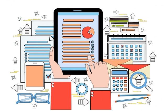 As mãos usam o gráfico de finanças de tablet digital relatório de dados estatísticos de tela de toque de homem de negócios, documentos de empresário no local de trabalho de mesa de escritório