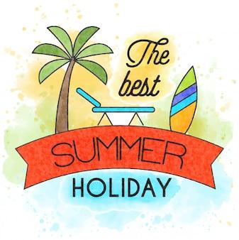 As melhores férias de verão. cartaz em aquarela