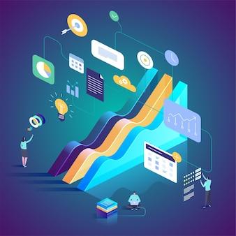 As melhores ferramentas estatísticas em pesquisa e análise de dados. ilustração isométrica para página de destino, web design, banner e apresentação.