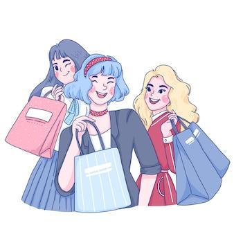 As meninas estão comprando juntos a ilustração dos desenhos animados do personagem.