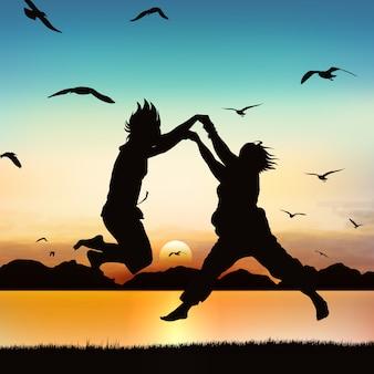 As meninas felizes estão saltando, na arte da silhueta.