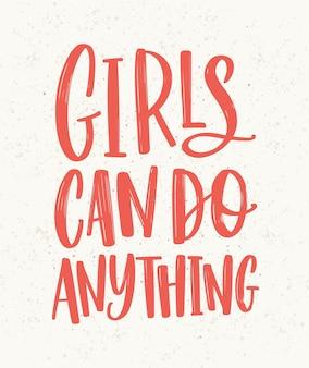 As meninas podem fazer qualquer coisa letras de mão escritas com letras vermelhas. inscrição manuscrita com elegante fonte cursiva. slogan, frase feminista ou de igualdade de gênero