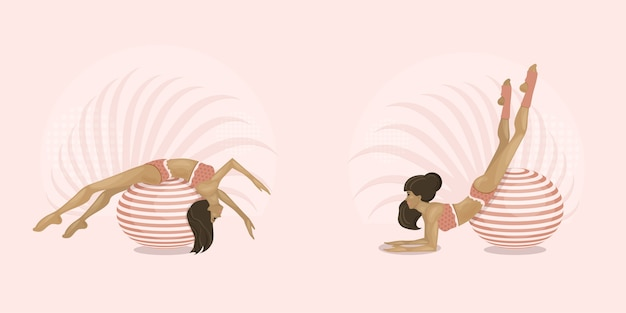 As meninas praticam esportes com bolas de ginástica. aeróbica em fit-ball. estilo de vida saudável, casa ou sala de ginástica. ilustração.